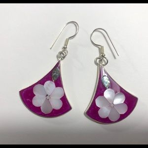 Jewelry - Alpaca silver earrings with inlays.